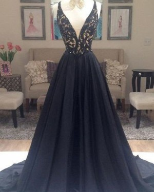 Black Beading Bodice V-neck Satin Evening Dress PM1162