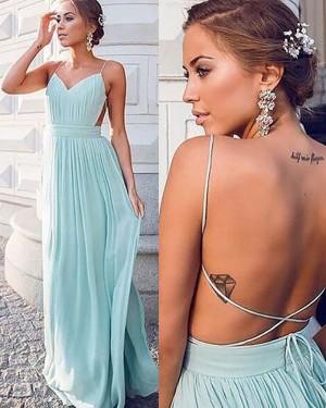 Spaghetti Straps Mint Chiffon Pleated Prom Dress PM1167