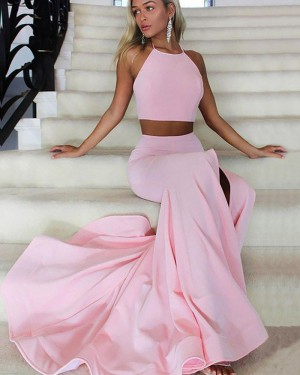 Two Piece Pink Halter Mermaid Prom Dress with Side Slit PM1169