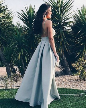Simple Dusty Blue Pleated Square Satin Long Prom Dress PM1178