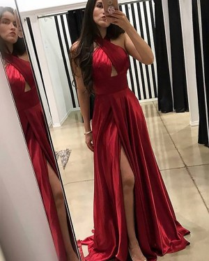 Crisscross Pleated Red Satin Prom Dress with Front Slit PM1180