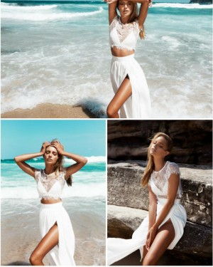 Two Piece Lace Bodice Cap Sleeved White Prom Dress with Side Slit PM1260