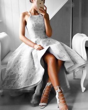 High Low Spaghetti Straps Lace Grey Prom Dress PM1266