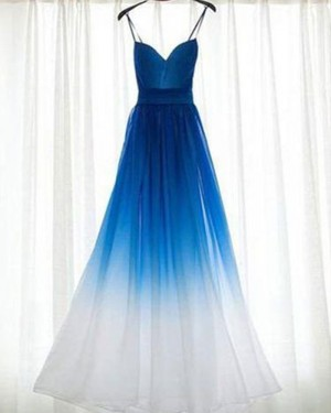 Ombre Blue and White Ruched Tulle Bridesmaid Dress PM1280
