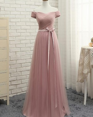 Dusty Pink Ruched Tulle Long Bridesmaid Dress PM1285