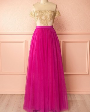 Gold and Red Tulle Appliqued Bridesmaid Dress with Short Sleeves PM1297