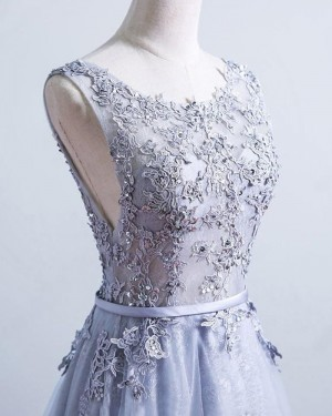 Dusty Blue Scoop Appliqued Lace Layered Evening Dress PM1299