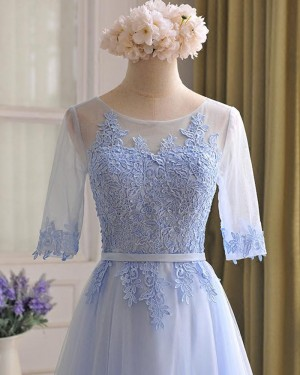 Tulle Lace Appliqued Light Blue Prom Dress with Half Length Sleeves PM1301