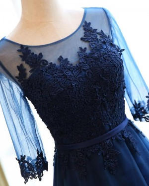 Scoop Tulle Appliqued Bodice Navy Blue Prom Dress with Half Length Sleeves PM1302