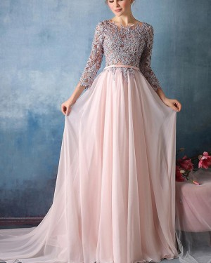 Jewel Appliqued Pink Tulle Long Formal Dress with 3/4 Length Sleeves PM1303