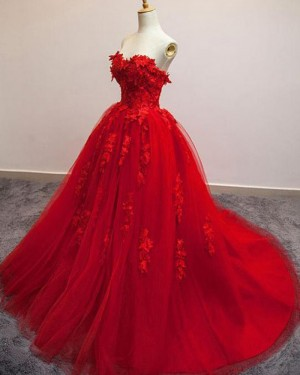 Sweetheart Red Tulle Evening Gown with Handmade Flowers PM1306