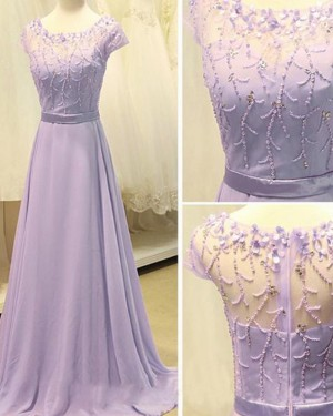 Scoop Beading Lavender Chiffon Long Formal Dress with Short Sleeves PM1309