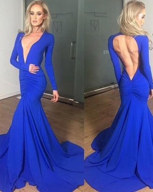 Simple Satin Mermaid V-neck Ruched Blue Prom Dress with Long Sleeves PM1310