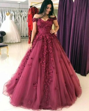Lace Appliqued Mulberry Ball Gown Prom Dress with Handmade Flowers PM1313