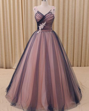 V-neck Ruched Pink and Black Appliqued Evening Gown PM1315
