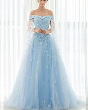 Light Blue Tulle Appliqued Off the Shoulder Evening Gown PM1331