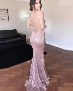 V-neck Gold Sequined Mermaid Evening Dress PM1332