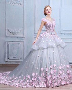Jewel Grey Tulle and Lace Quinceanera Dress with Handmade Flowers PM1333