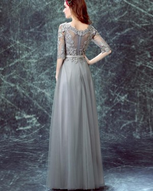 Jewel Grey Appliqued Bodice Tulle Long Formal Dress with Half Sleeves PM1334