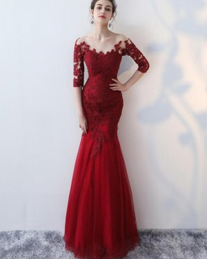 Burgundy Appliqued Mermaid Prom Dress with Half Length Sleeves PM1336