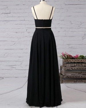 Spaghetti Straps Black Two Piece Satin Long Formal Dress with Side Slit PM1338
