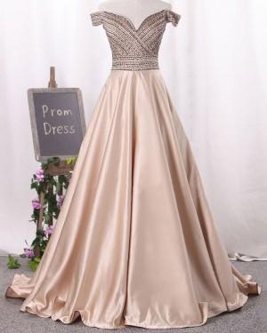 Off the Shoulder Beading Bodice Satin Long Formal Dress PM1341