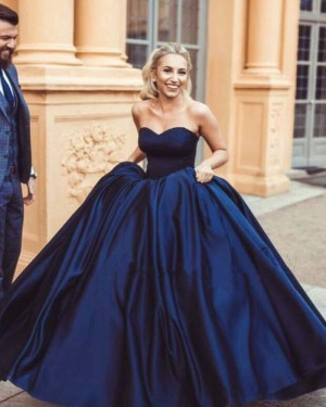 Simple Sweetheart Navy Blue Satin Evening Gown PM1351