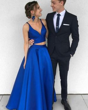 Simple Two Piece Deep V-neck Royal Blue Satin Prom Dress PM1360
