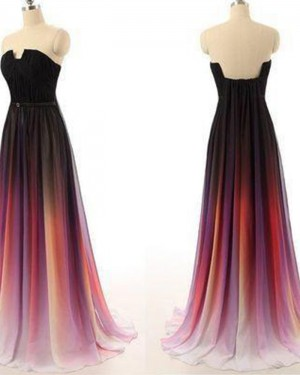Long Cutout Ombre Pleated Chiffon Wedding Party Dress PM1362