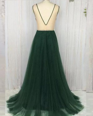 Deep V-neck Ruched Dark Green Tulle Prom Dress PM1364