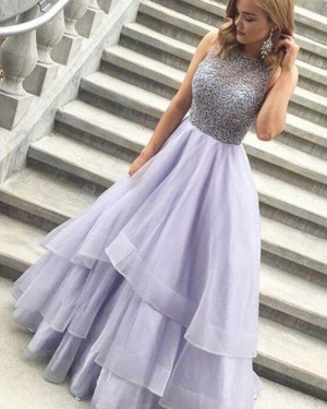 High Neck Lace Bodice Lavender Layered Long Formal Dress PM1373