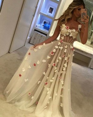Square Tulle Champagne Evening Dress with Handmade Flowers PM1376