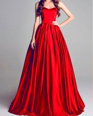 Simple Red Pleated Satin Sweetheart Long Formal Dress PM1381