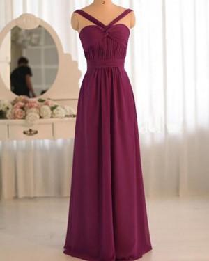 Crisscross Burgundy Chiffon Ruched Bridesmaid Dress PM1383