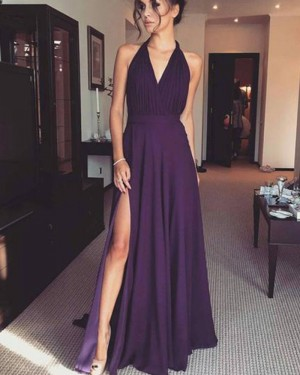 Simple Purple Halter Ruched Chiffon Prom Dress with Side Slit PM1387