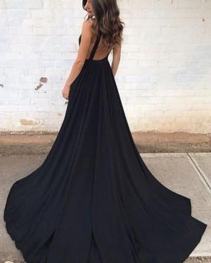 Black Pleated Deep V-neck Satin Prom Dress with Pockets PM1388