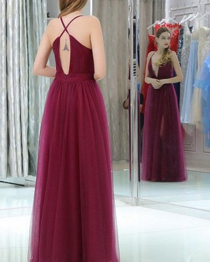 Pleated Tulle Halter Burgundy Prom Dress with Side Slit PM1389