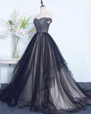 Off the Shoulder Ruched Tulle Black Evening Gown PM1390