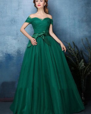 Off the Shoulder Green Ruched Tulle Long Formal Dress PM1393