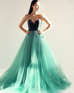 Sweetheart Black and Green Tulle Long Formal Dress PM1399