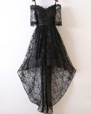 High Low Cold Shoulder Black Lace Prom Dress with Half Length Sleeves PM1400