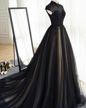 High Neck Appliqued Black Tulle Evening Dress PM1401
