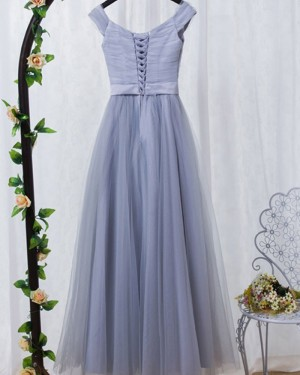 Off the Shoulder Dusty Blue Ruched Tulle Bridesmaid Dress PM1404
