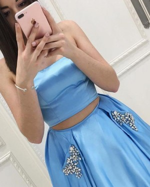 Two Piece Strapless Sky Blue Satin Prom Dress with Beading Pockets PM1405