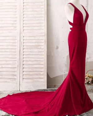 Simple Red Convertible Satin Mermaid Evening Dress PM1407