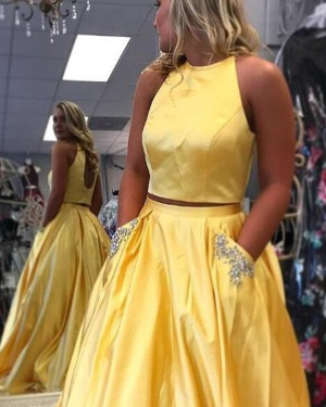 Simple Two Piece Yellow Satin Prom Dress with Beading Pockets PM1414