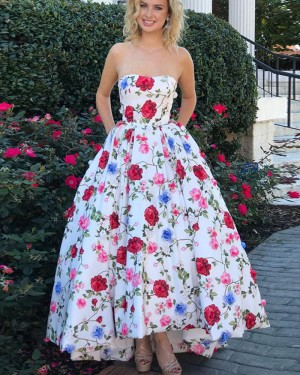 Sweetheart Floral Print Satin Prom Dress with Pockets PM1415