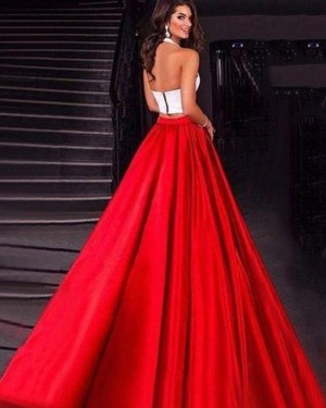 Simple Satin Halter Two Piece Prom Dress with Pockets PM1418