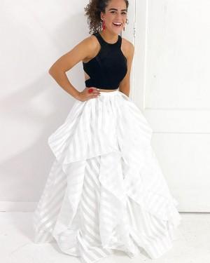 Two Piece Ruffled Black & White Strips Prom Dress PM1419