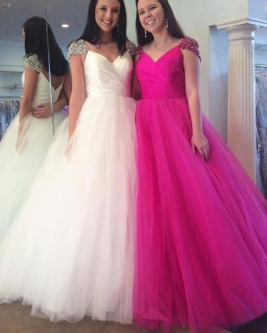 Simple Ruched Tulle V-neck Ball Gown Prom Dress with Caps PM1421